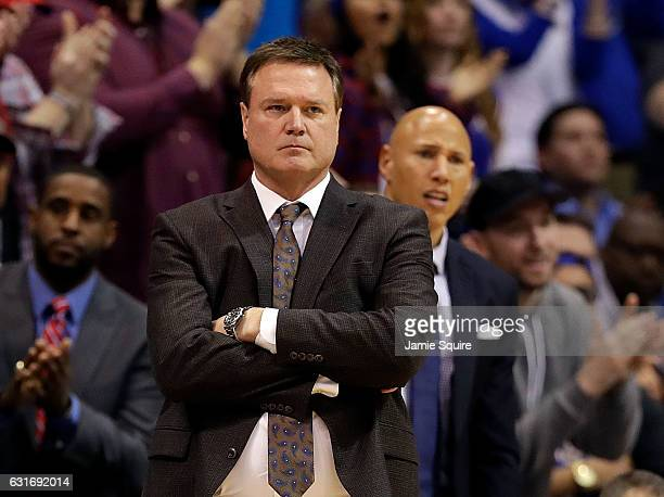 Head coach Bill Self of the Kansas Jayhawks reacts from the bench during the game against the Oklahoma State Cowboys at Allen Fieldhouse on January...