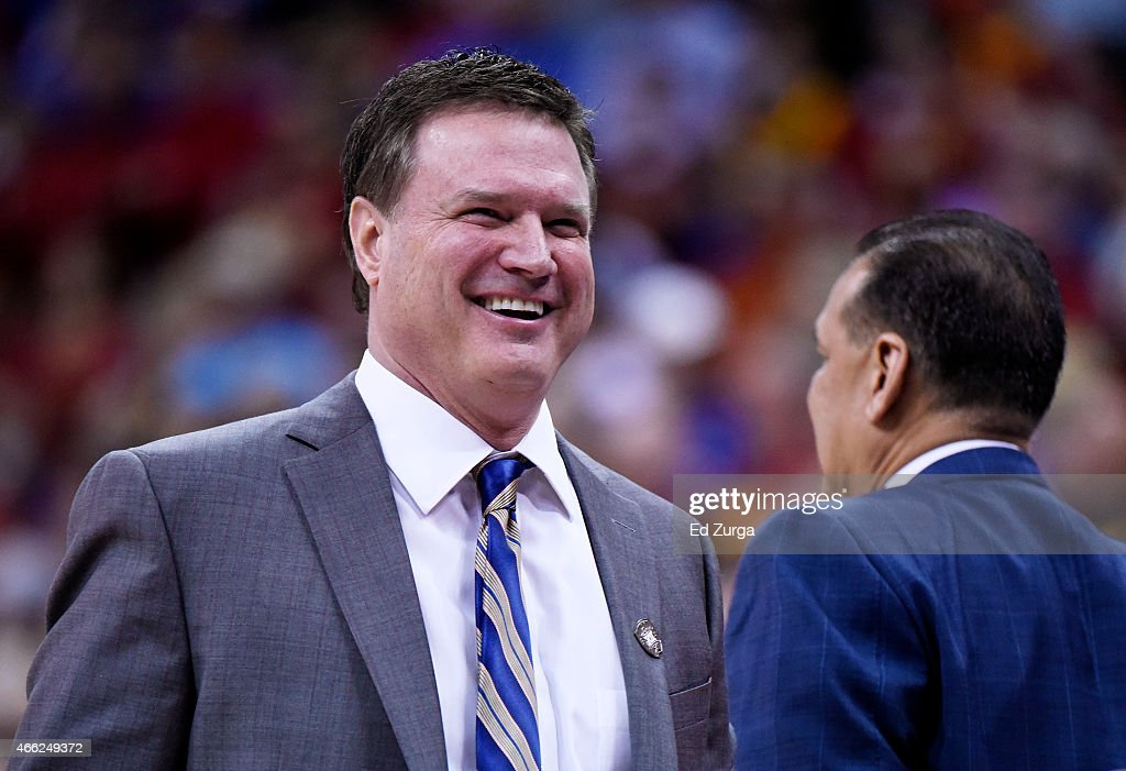 Head coach <a gi-track='captionPersonalityLinkClicked' href=/galleries/search?phrase=Bill+Self+-+Coach&family=editorial&specificpeople=228699 ng-click='$event.stopPropagation()'>Bill Self</a> of the Kansas Jayhawks reacts in the first half against the Iowa State Cyclones during the championship game of the Big 12 Basketball Tournament at Sprint Center on March 14, 2015 in Kansas City, Missouri.