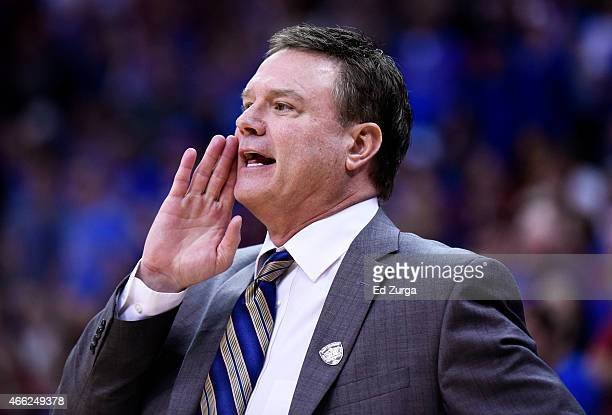 Head coach Bill Self of the Kansas Jayhawks reacts in the first half against the Iowa State Cyclones during the championship game of the Big 12...
