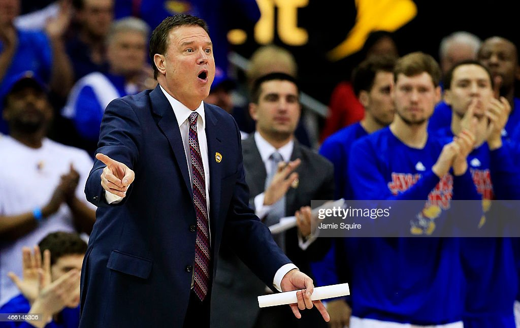 Head coach <a gi-track='captionPersonalityLinkClicked' href=/galleries/search?phrase=Bill+Self+-+Basketballtrainer&family=editorial&specificpeople=228699 ng-click='$event.stopPropagation()'>Bill Self</a> of the Kansas Jayhawks reacts in the second half against the Baylor Bears during a semifinal game of the 2015 Big 12 Basketball Tournament at Sprint Center on March 13, 2015 in Kansas City, Missouri.