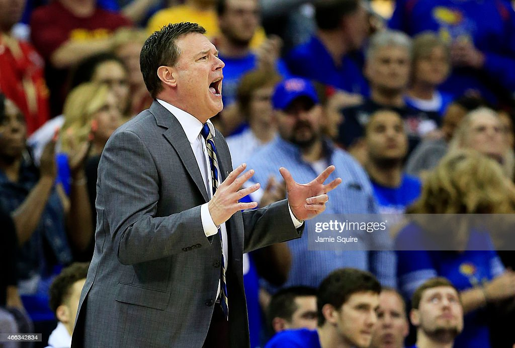 Head coach <a gi-track='captionPersonalityLinkClicked' href=/galleries/search?phrase=Bill+Self+-+Coach&family=editorial&specificpeople=228699 ng-click='$event.stopPropagation()'>Bill Self</a> of the Kansas Jayhawks reacts in the second half of their 66 to 70 loss to the Iowa State Cyclones during the championship game of the Big 12 Basketball Tournament at Sprint Center on March 14, 2015 in Kansas City, Missouri.