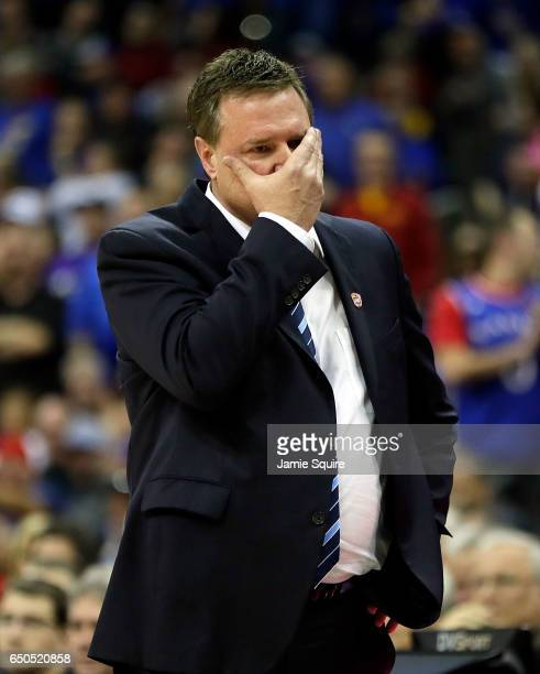 Head coach Bill Self of the Kansas Jayhawks reacts late in the the quarterfinal game of the Big 12 Basketball Tournament against the TCU Horned Frogs...