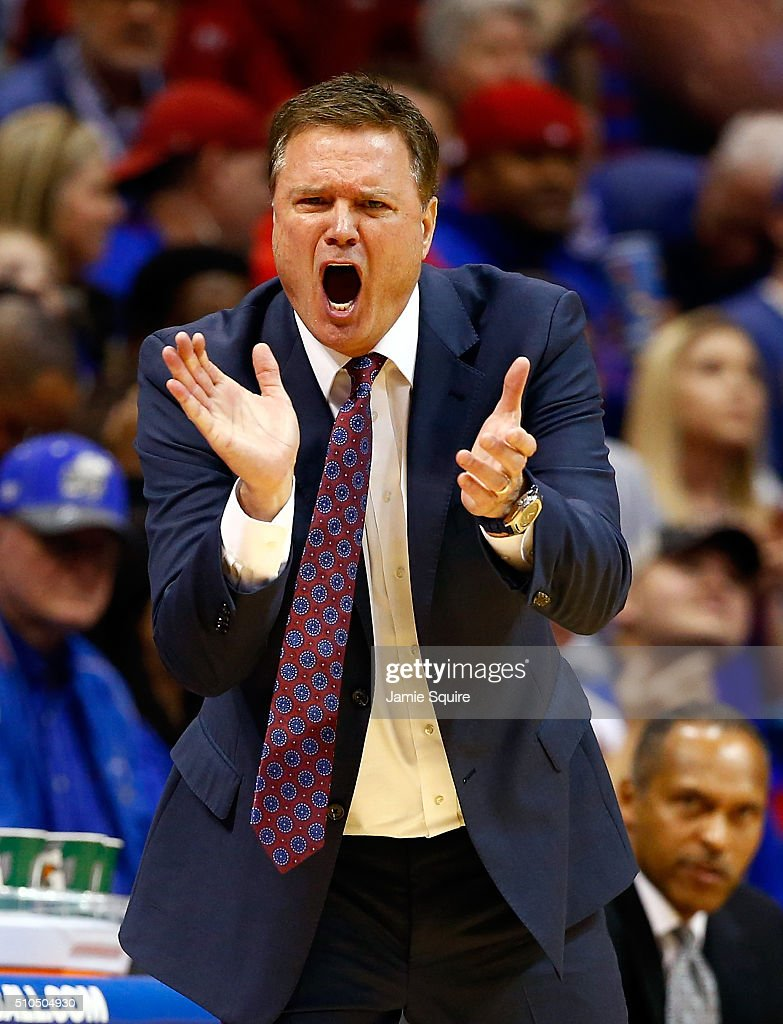 Head coach <a gi-track='captionPersonalityLinkClicked' href=/galleries/search?phrase=Bill+Self+-+Basketballtrainer&family=editorial&specificpeople=228699 ng-click='$event.stopPropagation()'>Bill Self</a> of the Kansas Jayhawks reacts on the bench during the game against the Oklahoma State Cowboys at Allen Fieldhouse on February 15, 2016 in Lawrence, Kansas.