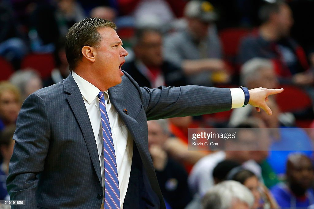 Head coach <a gi-track='captionPersonalityLinkClicked' href=/galleries/search?phrase=Bill+Self+-+Treinador&family=editorial&specificpeople=228699 ng-click='$event.stopPropagation()'>Bill Self</a> of the Kansas Jayhawks reacts on the sideline in the first half against the Austin Peay Governors during the first round of the 2016 NCAA Men's Basketball Tournament at Wells Fargo Arena on March 17, 2016 in Des Moines, Iowa.