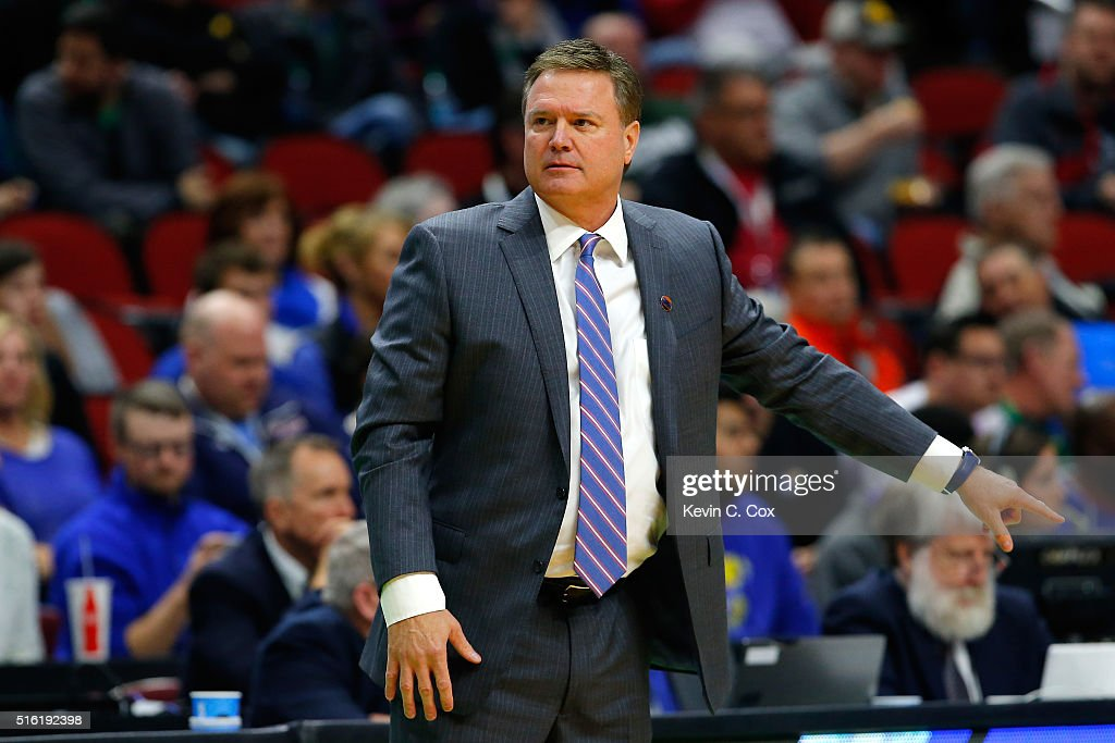 Head coach <a gi-track='captionPersonalityLinkClicked' href=/galleries/search?phrase=Bill+Self+-+Allenatore&family=editorial&specificpeople=228699 ng-click='$event.stopPropagation()'>Bill Self</a> of the Kansas Jayhawks reacts on the sideline in the first half against the Austin Peay Governors during the first round of the 2016 NCAA Men's Basketball Tournament at Wells Fargo Arena on March 17, 2016 in Des Moines, Iowa.