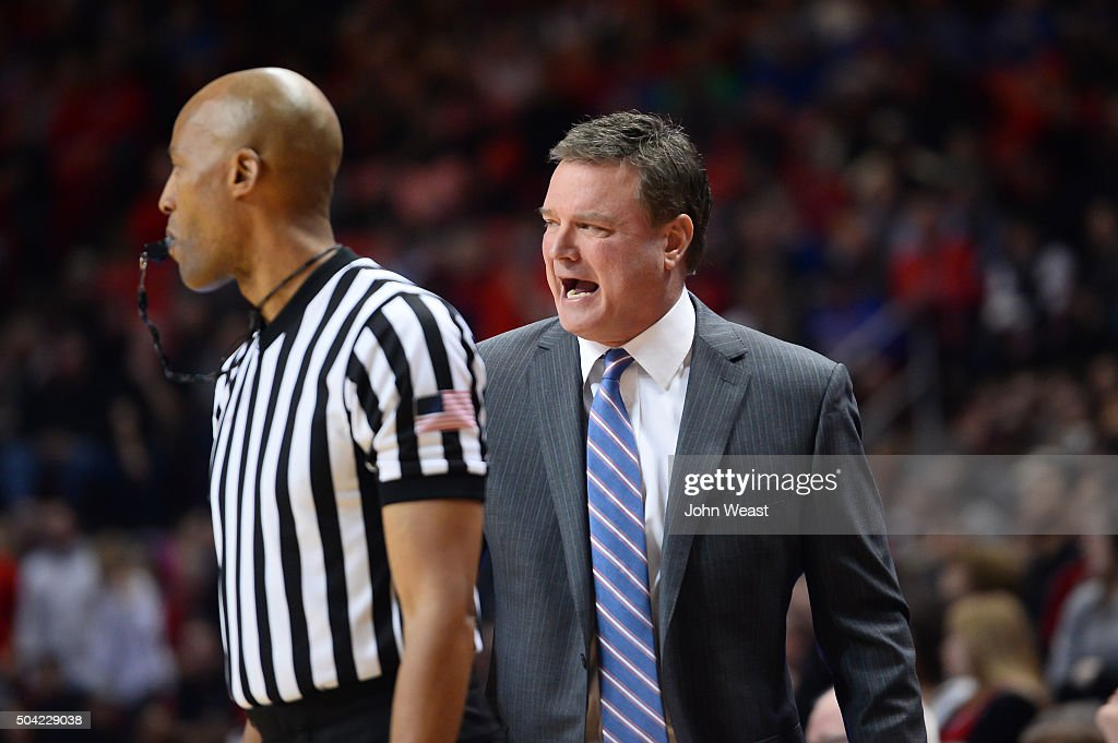 Head coach <a gi-track='captionPersonalityLinkClicked' href=/galleries/search?phrase=Bill+Self+-+Allenatore&family=editorial&specificpeople=228699 ng-click='$event.stopPropagation()'>Bill Self</a> of the Kansas Jayhawks reacts to a call during the game against the Texas Tech Red Raiders on January 09, 2016 at United Supermarkets Arena in Lubbock, Texas. Kansas won the game 69-59.