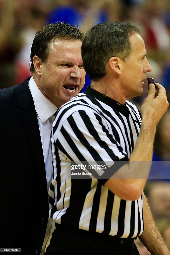 Head Coach Bill Self of the Kansas Jayhawks reacts to a referee after receiving a technical foul in the first half of the game against the Iowa State Cyclones during the Semifinals of the Big 12 basketball tournament at the Sprint Center on March 15, 2013 in Kansas City, Missouri.