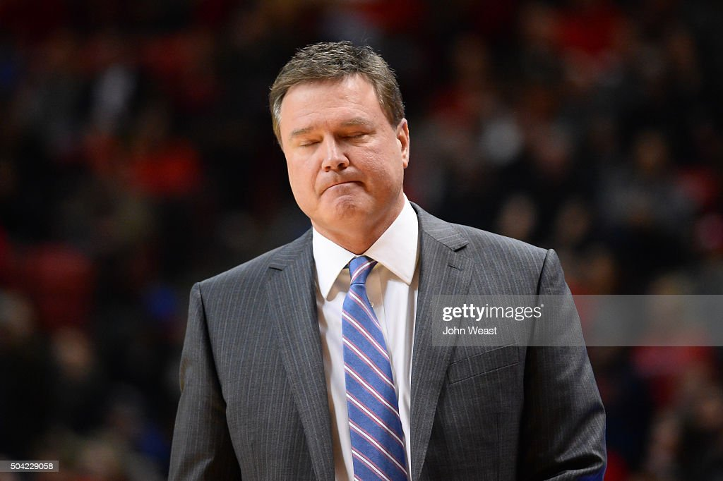 Head coach <a gi-track='captionPersonalityLinkClicked' href=/galleries/search?phrase=Bill+Self+-+Coach&family=editorial&specificpeople=228699 ng-click='$event.stopPropagation()'>Bill Self</a> of the Kansas Jayhawks reacts to action on the court during the game against the Texas Tech Red Raiders on January 09, 2016 at United Supermarkets Arena in Lubbock, Texas. Kansas won the game 69-59.