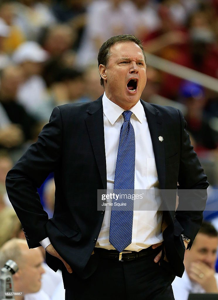 Head Coach Bill Self of the Kansas Jayhawks reacts while playing against the Iowa State Cyclones in the first half during the Semifinals of the Big 12 basketball tournament at the Sprint Center on March 15, 2013 in Kansas City, Missouri.