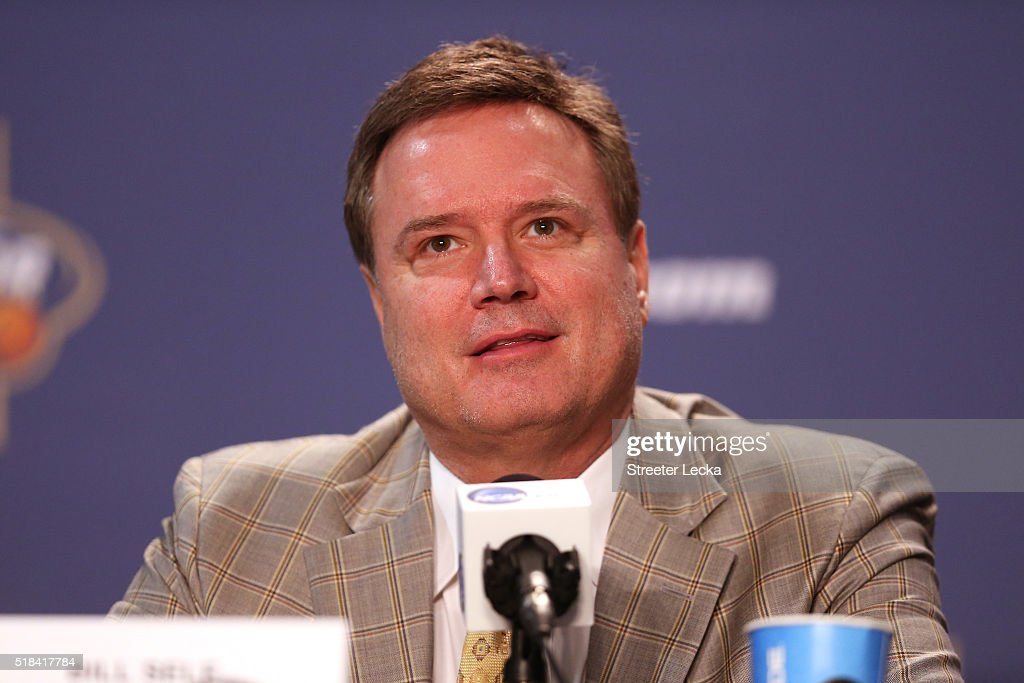 Head coach <a gi-track='captionPersonalityLinkClicked' href=/galleries/search?phrase=Bill+Self+-+Coach&family=editorial&specificpeople=228699 ng-click='$event.stopPropagation()'>Bill Self</a> of the Kansas Jayhawks speaks during a press conference after being announced as the Associated Press Coach of the Year prior to the 2016 NCAA Men's Final Four at NRG Stadium on March 31, 2016 in Houston, Texas.
