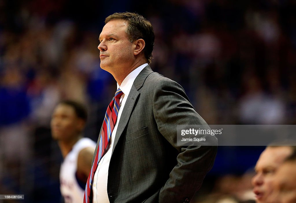 Head coach Bill Self of the Kansas Jayhawks watches from the bench during the game against the Belmont Bruins at Allen Fieldhouse on December 15, 2012 in Lawrence, Kansas.