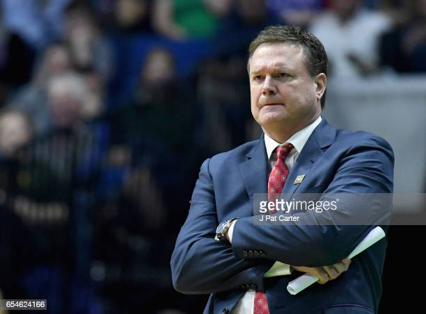 Head coach Bill Self of the Kansas Jayhawks watches on against the UC Davis Aggies during the first round of the 2017 NCAA Men's Basketball...