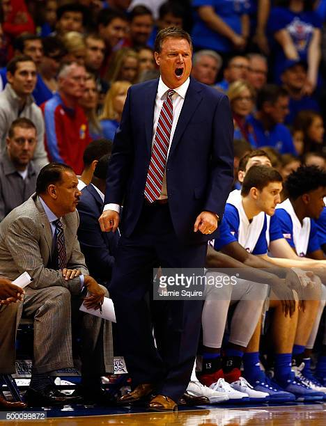 Head coach Bill Self of the Kansas Jayhawks yells from the bench during the game against the Harvard Crimson at Allen Fieldhouse on December 5 2015...