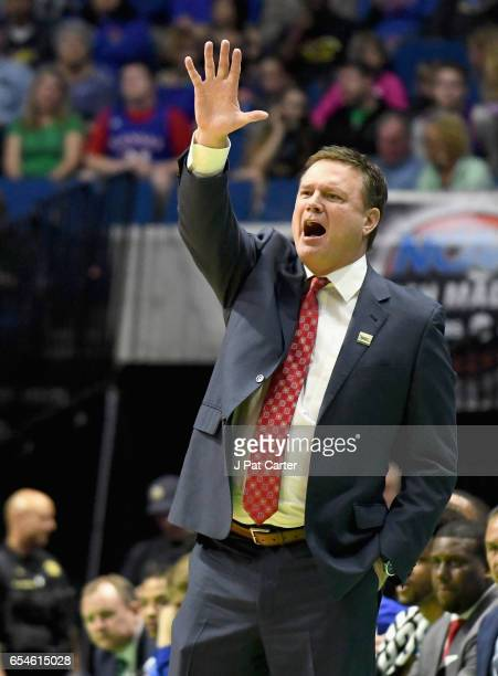 Head coach Bill Self of the Kansas Jayhawks yells to his team against the UC Davis Aggies during the first round of the 2017 NCAA Men's Basketball...