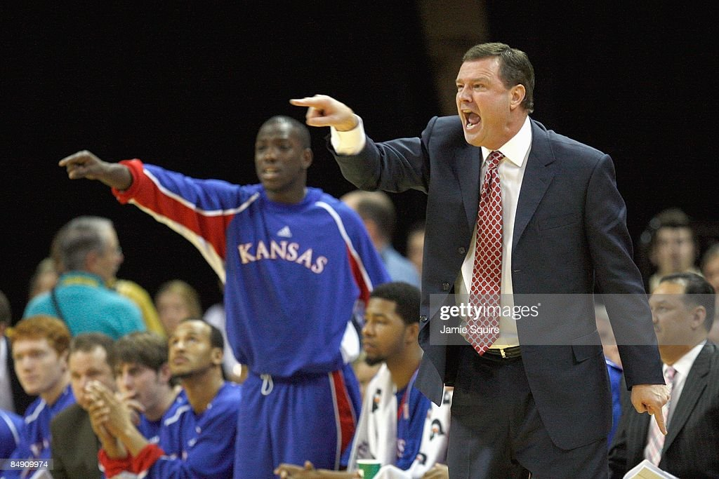 Head coach Bill Self of the the Kansas Jayhawks yells against the Missouri Tigers during the game on February 9 2009 at Mizzou Arena in Columbia...