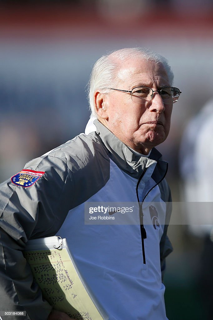 Head coach Bill Snyder of the Kansas State Wildcats looks on against the Arkansas Razorbacks in the first half of the AutoZone Liberty Bowl at Liberty Bowl Memorial Stadium on January 2, 2016 in Memphis, Tennessee.