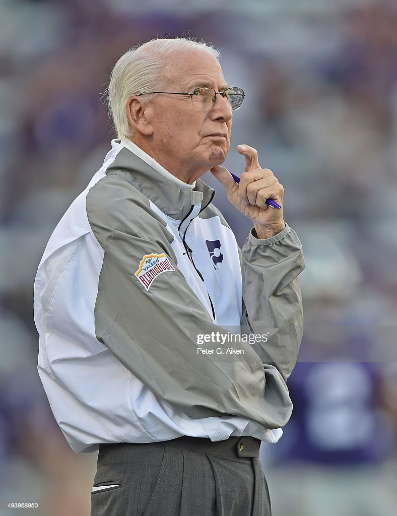 Head coach Bill Snyder of the Kansas State Wildcats looks on prior to a game against the TCU Horned Frogs on October 10, 2015 at Bill Snyder Family Stadium in Manhattan, Kansas.