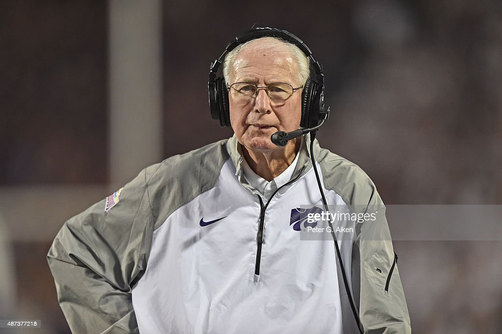 Head coach Bill Snyder of the Kansas State Wildcats looks out onto the field against the South Dakota Coyotes during the second half on September 5, 2015 at Bill Snyder Family Stadium in Manhattan, Kansas.