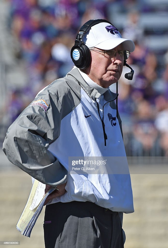 Head coach <a gi-track='captionPersonalityLinkClicked' href=/galleries/search?phrase=Bill+Snyder+-+American+Football+Coach&family=editorial&specificpeople=15001094 ng-click='$event.stopPropagation()'>Bill Snyder</a> of the Kansas State Wildcats looks out onto the field against the Louisiana Tech Bulldogs during the second half on September 19, 2015 at <a gi-track='captionPersonalityLinkClicked' href=/galleries/search?phrase=Bill+Snyder+-+American+Football+Coach&family=editorial&specificpeople=15001094 ng-click='$event.stopPropagation()'>Bill Snyder</a> Family Stadium in Manhattan, Kansas.