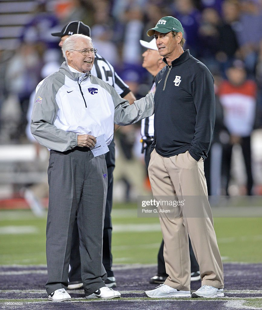 Head coach <a gi-track='captionPersonalityLinkClicked' href=/galleries/search?phrase=Bill+Snyder+-+American+Football+Coach&family=editorial&specificpeople=15001094 ng-click='$event.stopPropagation()'>Bill Snyder</a> (L) of the Kansas State Wildcats talks with head coach <a gi-track='captionPersonalityLinkClicked' href=/galleries/search?phrase=Art+Briles&family=editorial&specificpeople=4089972 ng-click='$event.stopPropagation()'>Art Briles</a> (R) of the Baylor Bears prior to the game on November 5, 2015 at <a gi-track='captionPersonalityLinkClicked' href=/galleries/search?phrase=Bill+Snyder+-+American+Football+Coach&family=editorial&specificpeople=15001094 ng-click='$event.stopPropagation()'>Bill Snyder</a> Family Stadium in Manhattan, Kansas.