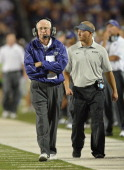 Head coach Bill Snyder of the Kansas State Wildcats walks up the sidelines against the North Dakota State Bison during the second half on August 30...