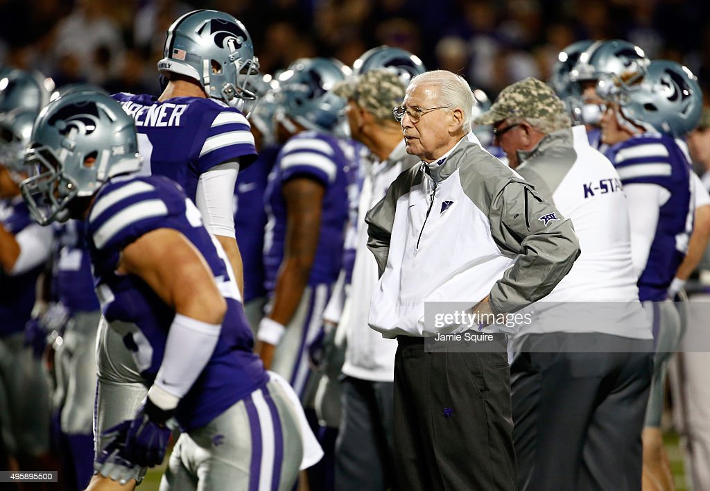 Head coach <a gi-track='captionPersonalityLinkClicked' href=/galleries/search?phrase=Bill+Snyder+-+American+Football+Coach&family=editorial&specificpeople=15001094 ng-click='$event.stopPropagation()'>Bill Snyder</a> of the Kansas State Wildcats watches during warm-ups prior to the game against the Baylor Bears at <a gi-track='captionPersonalityLinkClicked' href=/galleries/search?phrase=Bill+Snyder+-+American+Football+Coach&family=editorial&specificpeople=15001094 ng-click='$event.stopPropagation()'>Bill Snyder</a> Family Football Stadium on November 5, 2015 in Manhattan, Kansas.