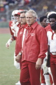 Head coach Bill Walsh of Stanford University looks on from the sidelines during an NCAA football game played at Stanford Stadium in September of 1978...