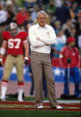 Head Coach Bill Walsh of the San Francisco 49ers during Super Bowl XIX against the Miami Dolphins on January 20 1985 in Stanford California The 49ers...