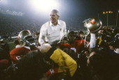 Head Coach Bill Walsh of the San Francisco 49ers gets carried off the field by his players after they defeated the Cincinnati Bengals 2016 in Super...