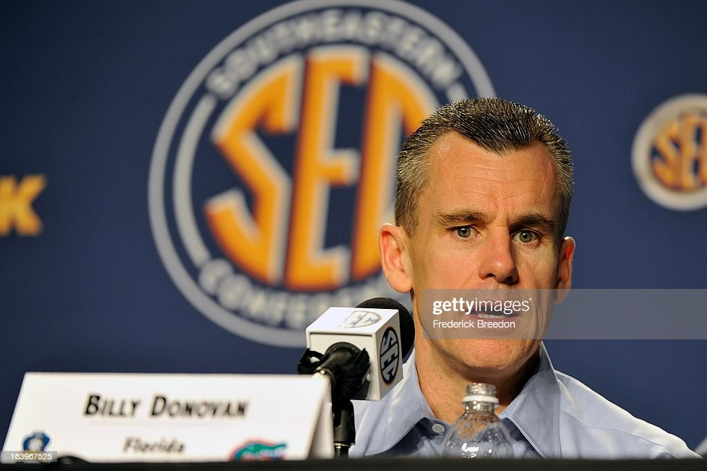 Head coach Billy Donovan of the Florida Gators addresses the media after a loss to the Ole Miss Rebels in the SEC Baskebtall Tournament Championship Game at Bridgestone Arena on March 17, 2013 in Nashville, Tennessee.