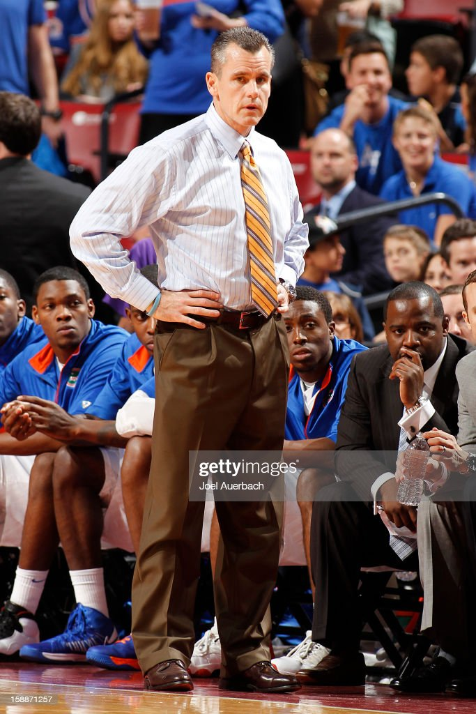 Head Coach Billy Donovan of the Florida Gators looks on during first half action against the Air Force Falcons at the MetroPCS Orange Bowl Basketball Classic on December 29, 2012 at the BB&T Center in Sunrise, Florida. The Gators defeated the Falcons 78-61.