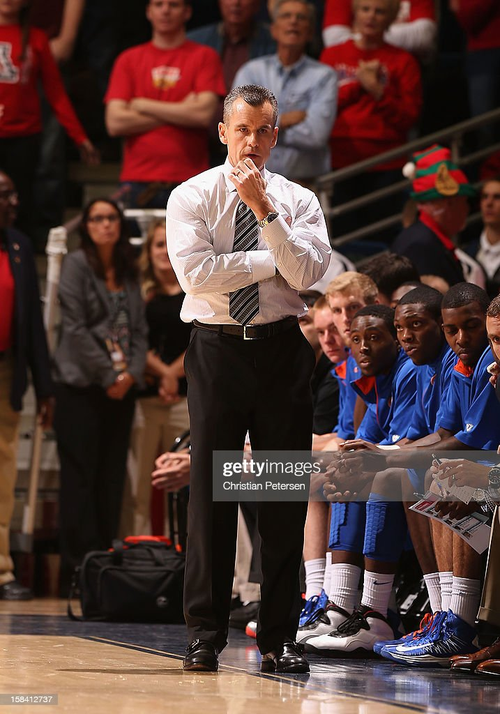Head coach <a gi-track='captionPersonalityLinkClicked' href=/galleries/search?phrase=Billy+Donovan&family=editorial&specificpeople=198944 ng-click='$event.stopPropagation()'>Billy Donovan</a> of the Florida Gators reacts during the college basketball game against the Arizona Wildcats at McKale Center on December 15, 2012 in Tucson, Arizona. The Wildcats defeated the Gators 65-64.