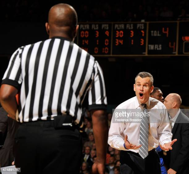 Head coach Billy Donovan of the Florida Gators responds to a penalty call during a game against the Vanderbilt Commodores at Memorial Gym on February...