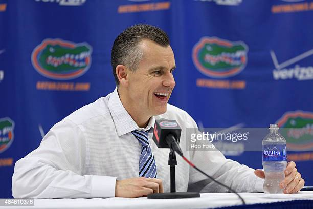 Head coach Billy Donovan of the Florida Gators speaks at a press conference after the game against the Tennessee Volunteers at the Stephen C...