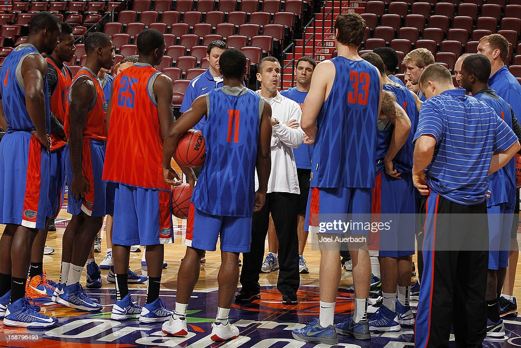 Head Coach Billy Donovan of the Florida Gators talks to his team during practice prior to the game against the Air Force Falcons at the MetroPCS Orange Bowl Basketball Classic on December 29, 2012 at the BB&T Center in Sunrise, Florida.