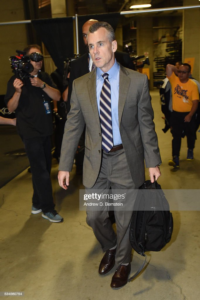 Head coach <a gi-track='captionPersonalityLinkClicked' href=/galleries/search?phrase=Billy+Donovan&family=editorial&specificpeople=198944 ng-click='$event.stopPropagation()'>Billy Donovan</a> of the Oklahoma City Thunder arrives before the game against the Golden State Warriors in Game Five of the Western Conference Finals during the 2016 NBA Playoffs on May 26, 2016 at ORACLE Arena in Oakland, California.