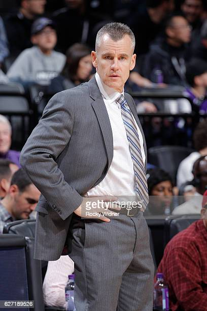 Head Coach Billy Donovan of the Oklahoma City Thunder coaches against the Sacramento Kings on November 23 2016 at Golden 1 Center in Sacramento...