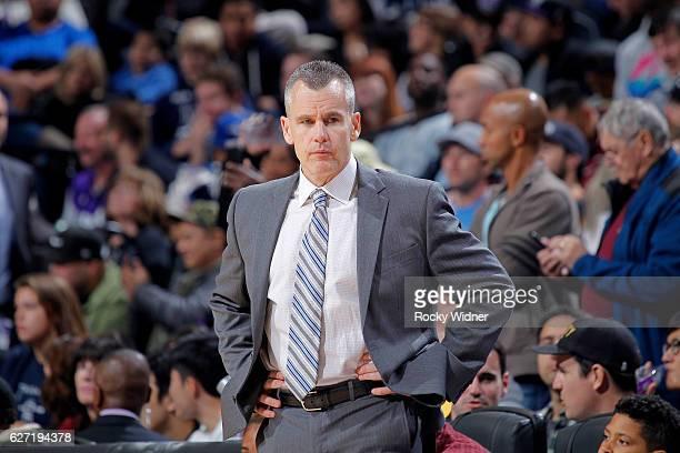 Head Coach Billy Donovan of the Oklahoma City Thunder coaches against the Sacramento Kings on November 23 2016 at Golden 1 Center in Sacramento...