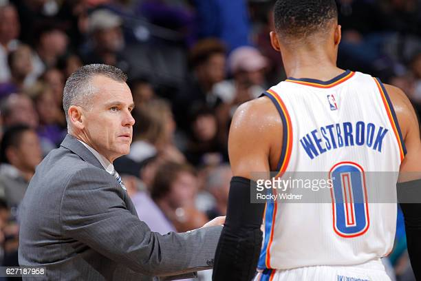Head Coach Billy Donovan of the Oklahoma City Thunder coaches Russell Westbrook against the Sacramento Kings on November 23 2016 at Golden 1 Center...