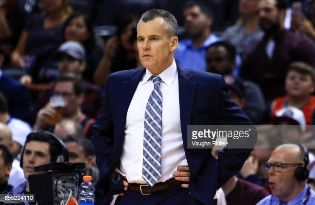 Head Coach Billy Donovan of the Oklahoma City Thunder looks on during the second half of an NBA game against the Toronto Raptors at Air Canada Centre...