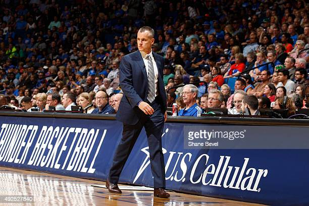 Head coach Billy Donovan of the Oklahoma City Thunder looks on against the Dallas Mavericks during a preseason game on October 13 2015 at the BOK...