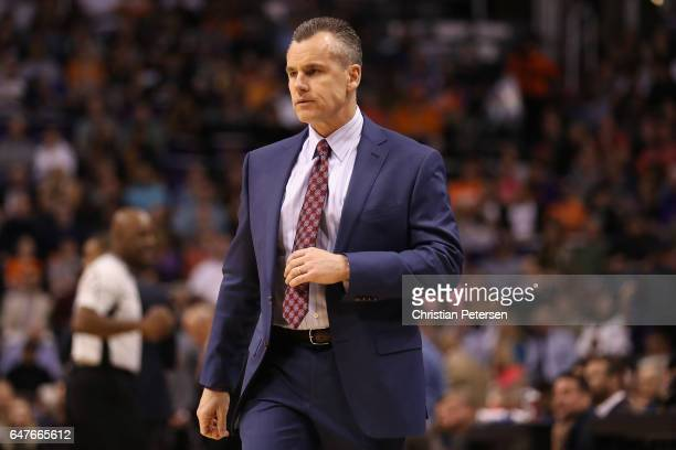 Head coach Billy Donovan of the Oklahoma City Thunder reacts during the first half of the NBA game against the Oklahoma City Thunder at Talking Stick...