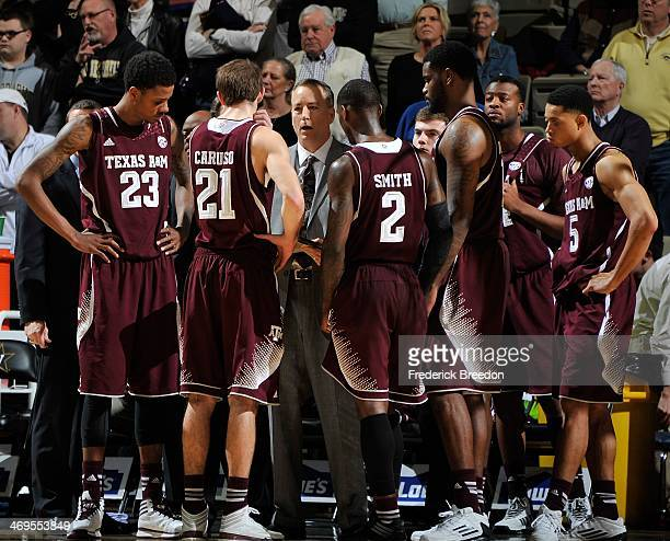 head coach Billy Kennedy of Texas AM coaches his team during a game against the Vanderbilt Commodores at Memorial Gym on February 15 2014 in...