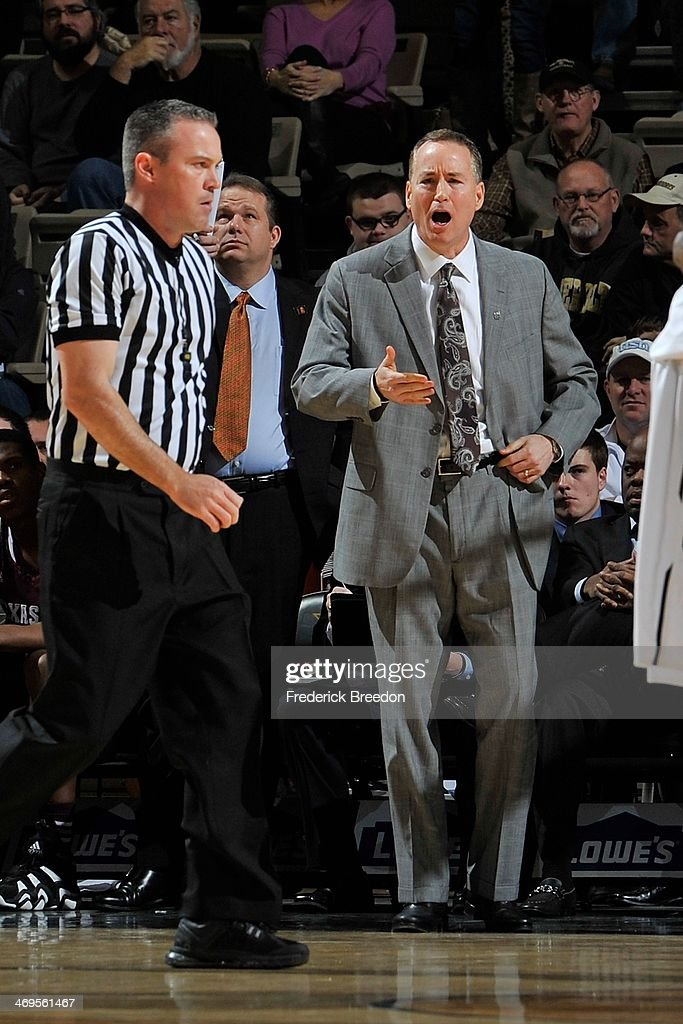 Head coach <a gi-track='captionPersonalityLinkClicked' href=/galleries/search?phrase=Billy+Kennedy+-+Basketbalcoach&family=editorial&specificpeople=15285545 ng-click='$event.stopPropagation()'>Billy Kennedy</a> of Texas A&M reacts after a call during a game against the Vanderbilt Commodores at Memorial Gym on February 15, 2014 in Nashville, Tennessee.