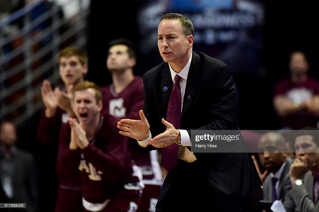 Head coach <a gi-track='captionPersonalityLinkClicked' href=/galleries/search?phrase=Billy+Kennedy+-+Basketball+Coach&family=editorial&specificpeople=15285545 ng-click='$event.stopPropagation()'>Billy Kennedy</a> of the Texas A&M Aggies cheers on his team in the second half while taking on the Oklahoma Sooners in the 2016 NCAA Men's Basketball Tournament West Regional at the Honda Center on March 24, 2016 in Anaheim, California.