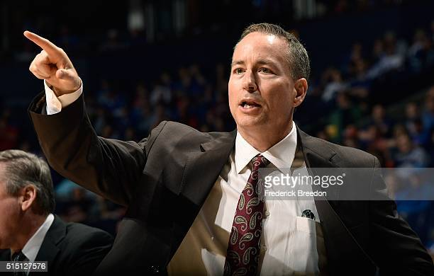 Head coach Billy Kennedy of the Texas AM Aggies coaches during the second half of and SEC Basketball Tournament Semifinal game at Bridgestone Arena...