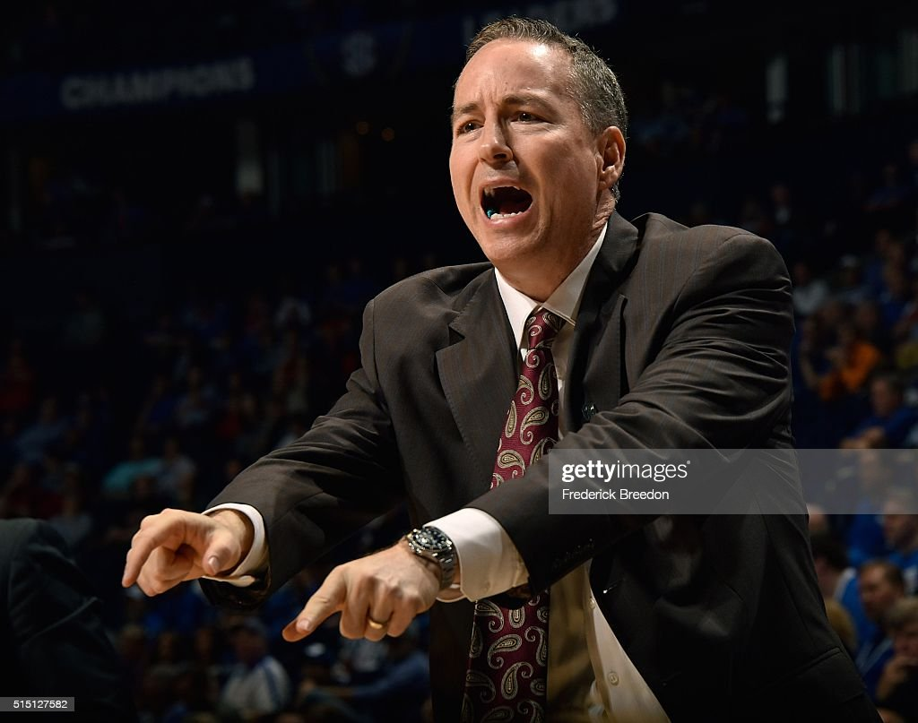 Head coach <a gi-track='captionPersonalityLinkClicked' href=/galleries/search?phrase=Billy+Kennedy+-+Basketball+Coach&family=editorial&specificpeople=15285545 ng-click='$event.stopPropagation()'>Billy Kennedy</a> of the Texas A&M Aggies coaches during the second half of and SEC Basketball Tournament Semifinal game at Bridgestone Arena on March 12, 2016 in Nashville, Tennessee.