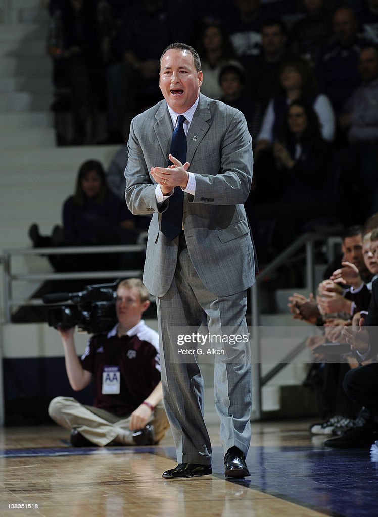 Head coach <a gi-track='captionPersonalityLinkClicked' href=/galleries/search?phrase=Billy+Kennedy+-+Basketbalcoach&family=editorial&specificpeople=15285545 ng-click='$event.stopPropagation()'>Billy Kennedy</a> of the Texas A&M Aggies looks down the court against the Kansas State Wildcats during the second half on February 4, 2012 at Bramlage Coliseum in Manhattan, Kansas.