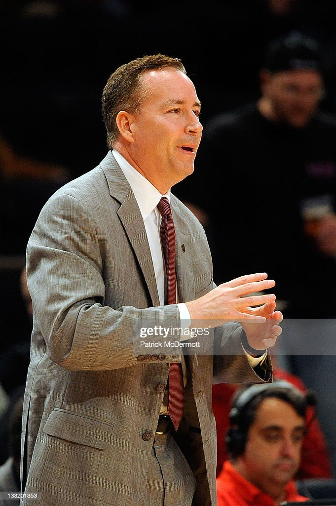 Head coach <a gi-track='captionPersonalityLinkClicked' href=/galleries/search?phrase=Billy+Kennedy+-+Basketball+Coach&family=editorial&specificpeople=15285545 ng-click='$event.stopPropagation()'>Billy Kennedy</a> of the Texas A&M Aggies reacts during a game against the Mississippi State Bulldogs during the 2K Sports Classic Benefiting Coaches Vs Cancer at Madison Square Garden on November 17, 2011 in New York City.