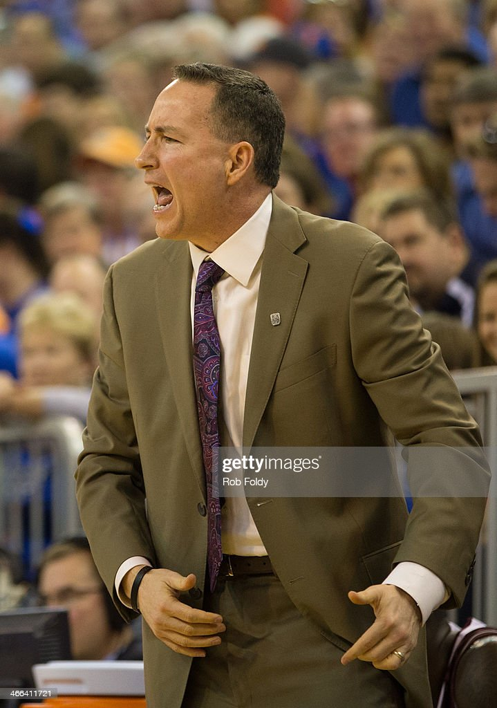 Head coach <a gi-track='captionPersonalityLinkClicked' href=/galleries/search?phrase=Billy+Kennedy+-+Basketball+Coach&family=editorial&specificpeople=15285545 ng-click='$event.stopPropagation()'>Billy Kennedy</a> of the Texas A&M Aggies reacts during the first half of play against the Florida Gators at the Stephen C. O'Connell Center on February 01, 2014 in Gainesville, Florida.